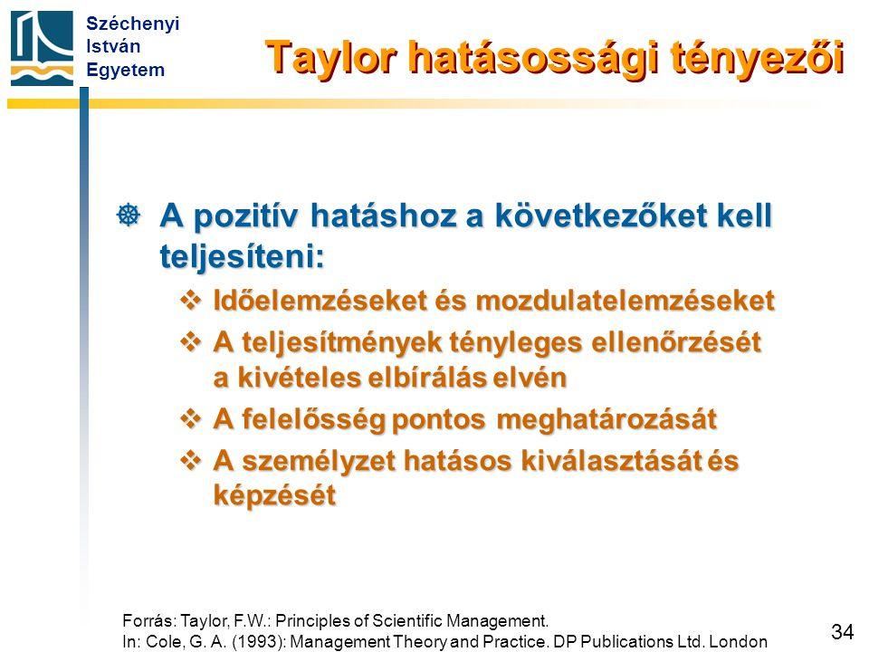 Széchenyi István Egyetem 34 Taylor hatásossági tényezői  A pozitív hatáshoz a következőket kell teljesíteni:  Időelemzéseket és mozdulatelemzéseket