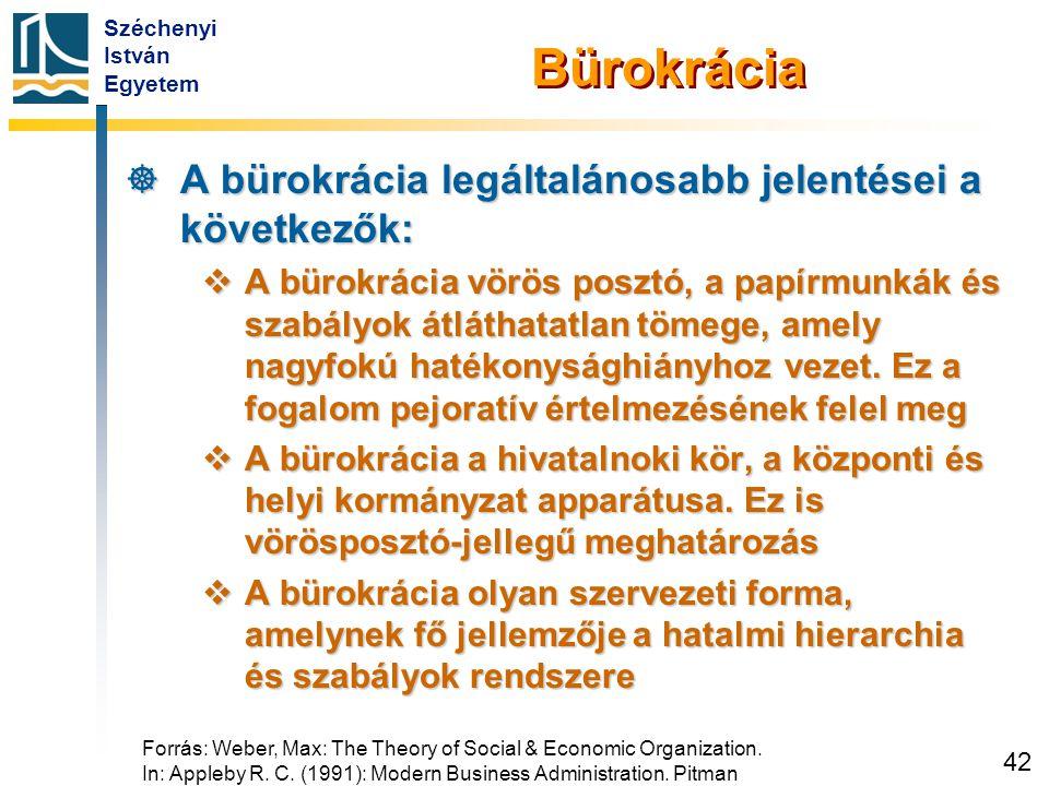 Széchenyi István Egyetem 42 Bürokrácia  A bürokrácia legáltalánosabb jelentései a következők:  A bürokrácia vörös posztó, a papírmunkák és szabályok