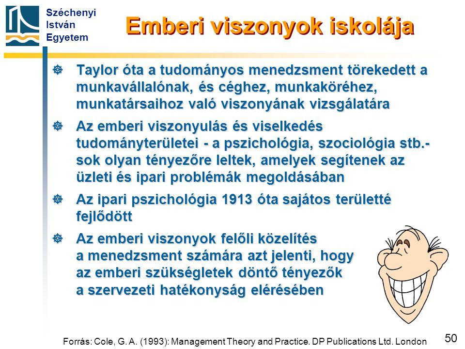 Széchenyi István Egyetem 50 Emberi viszonyok iskolája  Taylor óta a tudományos menedzsment törekedett a munkavállalónak, és céghez, munkaköréhez, mun