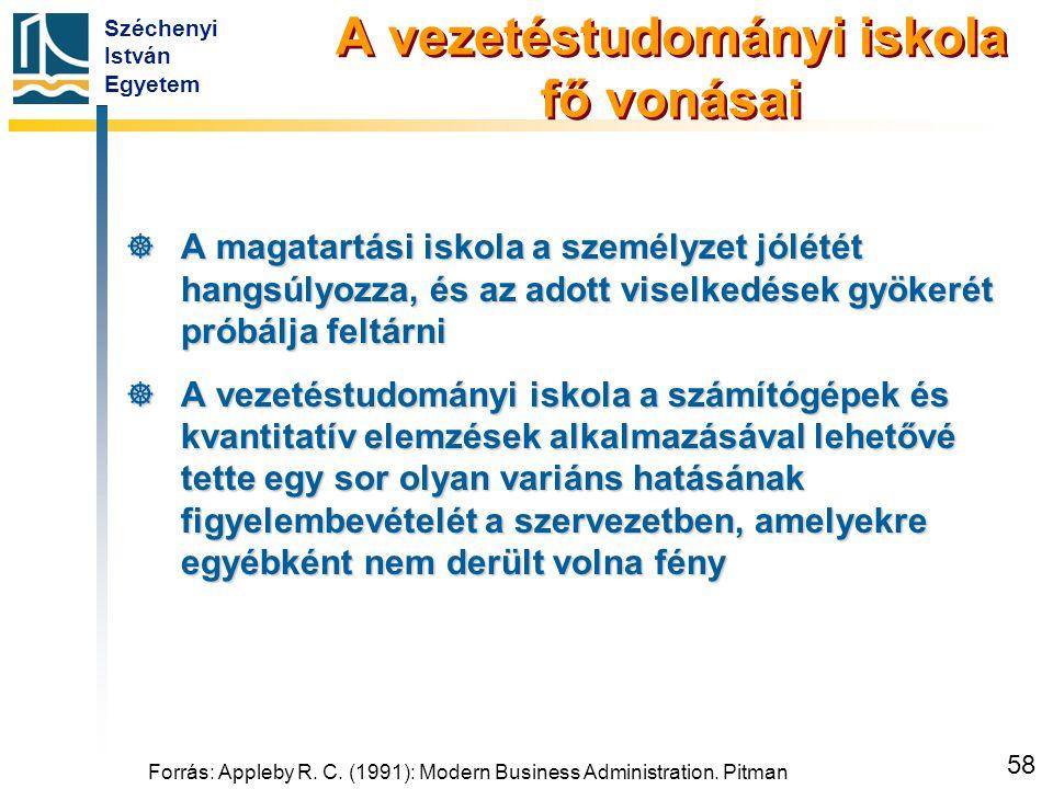 Széchenyi István Egyetem 58 Forrás: Appleby R. C. (1991): Modern Business Administration. Pitman A vezetéstudományi iskola fő vonásai  A magatartási