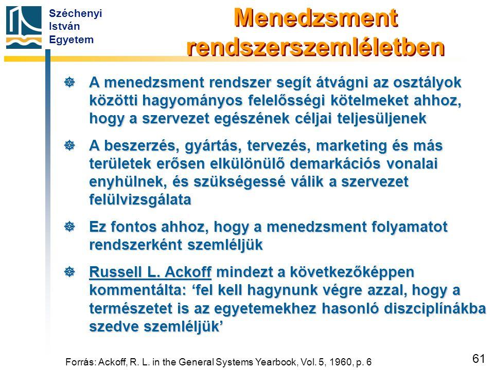 Széchenyi István Egyetem 61 Forrás: Ackoff, R. L. in the General Systems Yearbook, Vol. 5, 1960, p. 6 Menedzsment rendszerszemléletben  A menedzsment