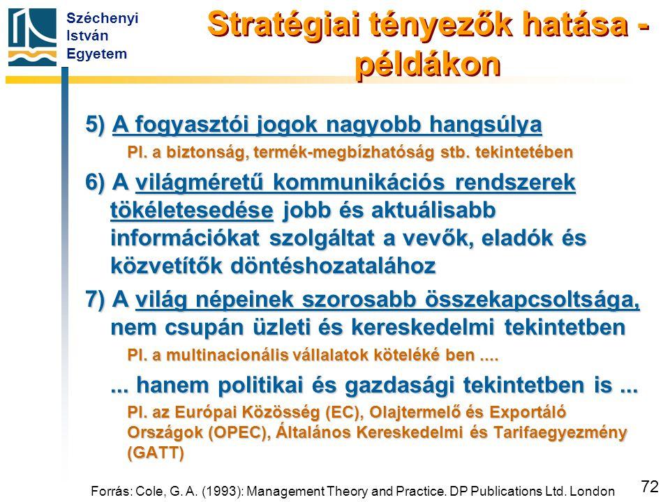 Széchenyi István Egyetem 72 Forrás: Cole, G. A. (1993): Management Theory and Practice. DP Publications Ltd. London Stratégiai tényezők hatása - példá