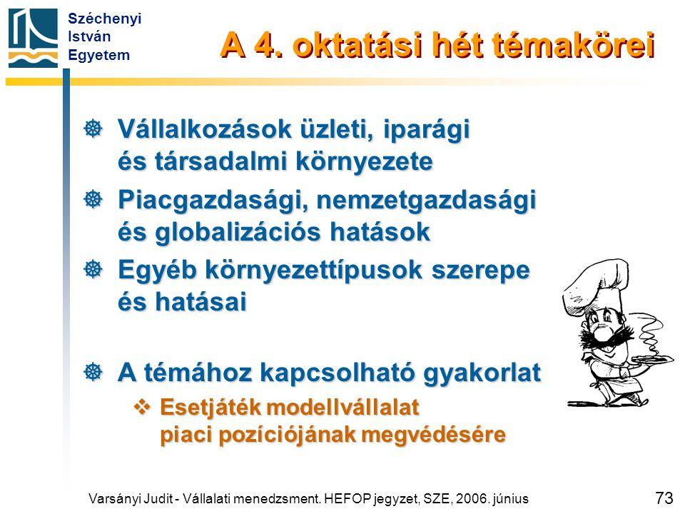 Széchenyi István Egyetem 73 A 4. oktatási hét témakörei  Vállalkozások üzleti, iparági és társadalmi környezete  Piacgazdasági, nemzetgazdasági és g