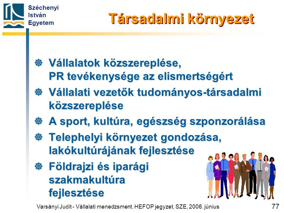Széchenyi István Egyetem 77 Társadalmi környezet  Vállalatok közszereplése, PR tevékenysége az elismertségért  Vállalati vezetők tudományos-társadal
