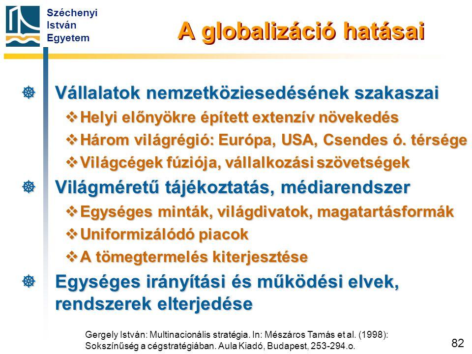 Széchenyi István Egyetem 82 A globalizáció hatásai  Vállalatok nemzetköziesedésének szakaszai  Helyi előnyökre épített extenzív növekedés  Három vi