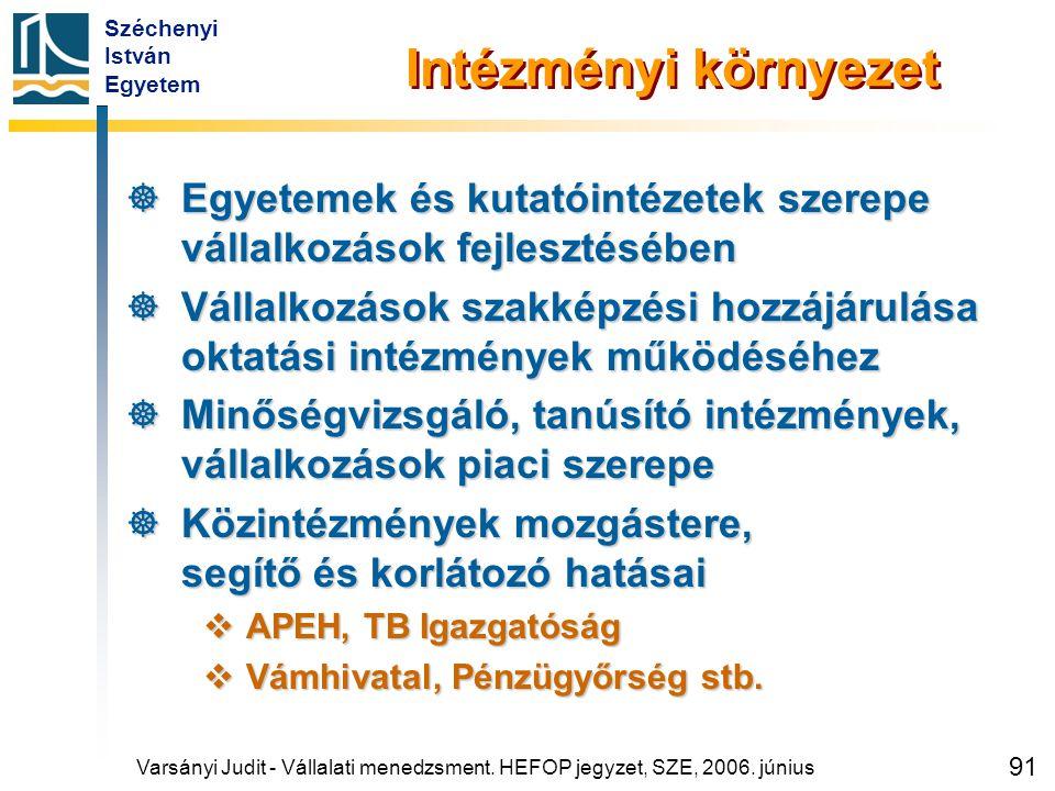 Széchenyi István Egyetem 91 Intézményi környezet  Egyetemek és kutatóintézetek szerepe vállalkozások fejlesztésében  Vállalkozások szakképzési hozzá