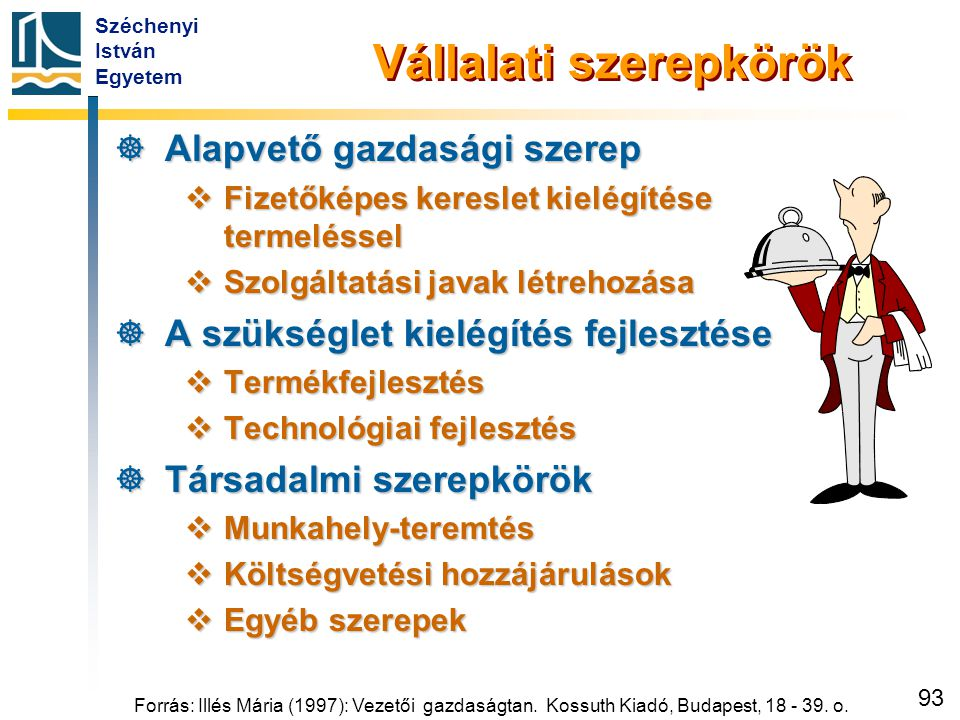 Széchenyi István Egyetem 93 Forrás: Illés Mária (1997): Vezetői gazdaságtan. Kossuth Kiadó, Budapest, 18 - 39. o. Vállalati szerepkörök  Alapvető gaz