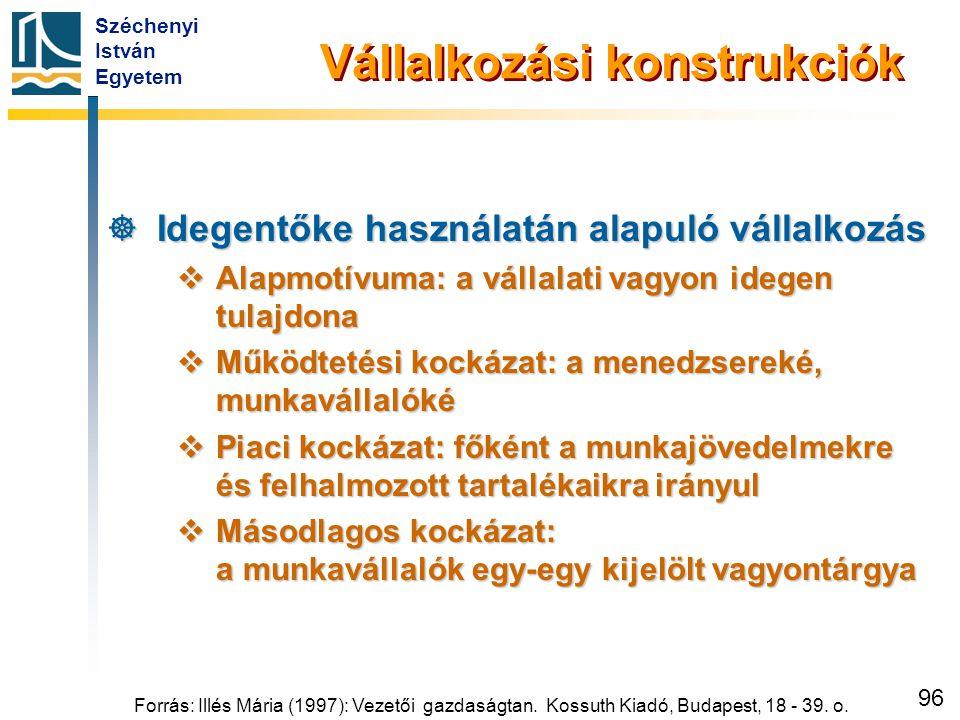 Széchenyi István Egyetem 96 Vállalkozási konstrukciók  Idegentőke használatán alapuló vállalkozás  Alapmotívuma: a vállalati vagyon idegen tulajdona
