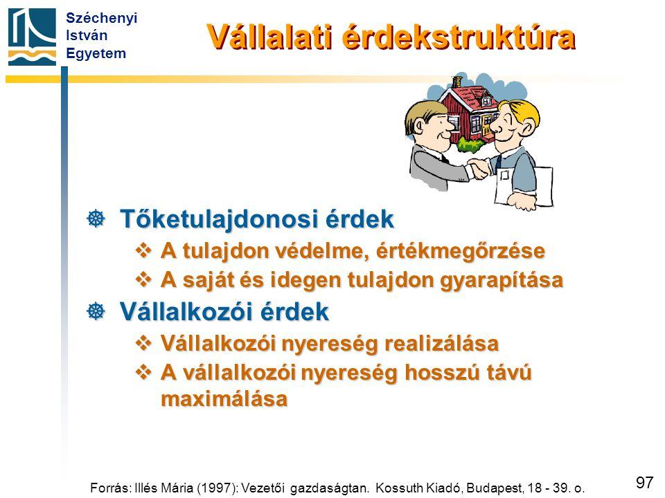 Széchenyi István Egyetem 97 Forrás: Illés Mária (1997): Vezetői gazdaságtan. Kossuth Kiadó, Budapest, 18 - 39. o. Vállalati érdekstruktúra  Tőketulaj