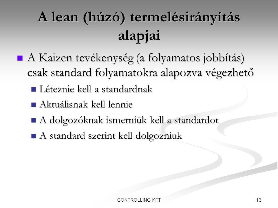 13CONTROLLING KFT A lean (húzó) termelésirányítás alapjai  A Kaizen tevékenység (a folyamatos jobbítás) csak standard folyamatokra alapozva végezhető