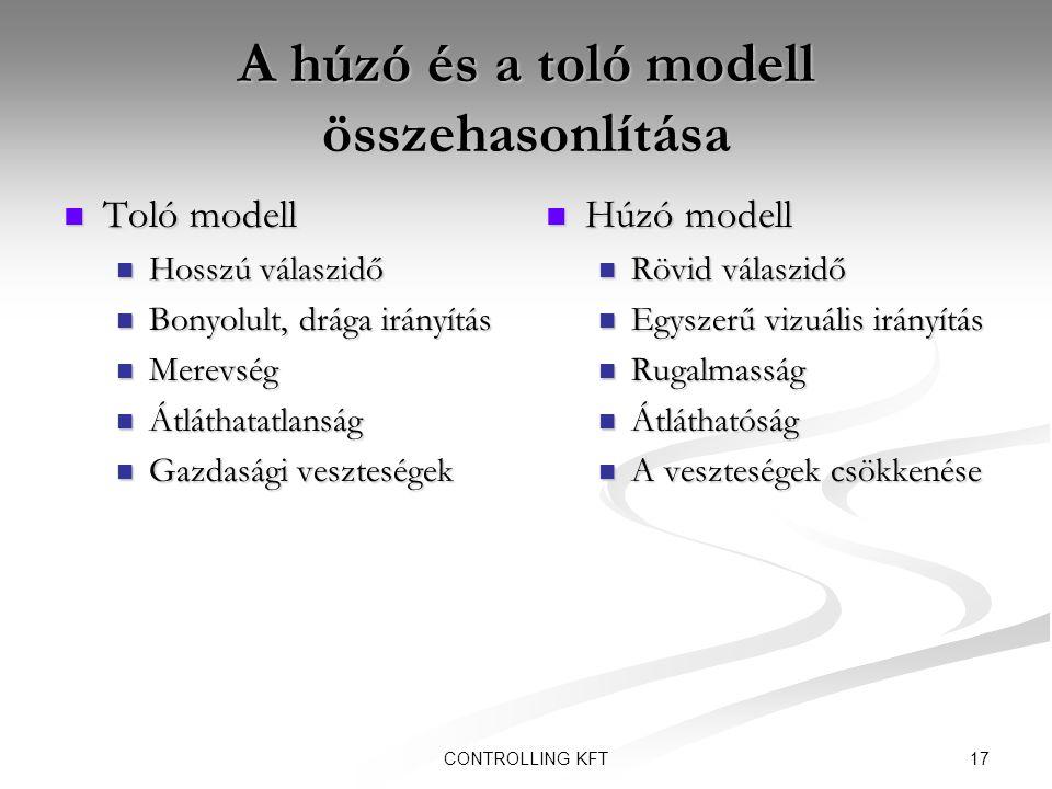 17CONTROLLING KFT A húzó és a toló modell összehasonlítása  Toló modell  Hosszú válaszidő  Bonyolult, drága irányítás  Merevség  Átláthatatlanság