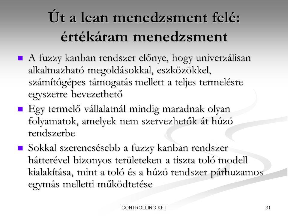 31CONTROLLING KFT Út a lean menedzsment felé: értékáram menedzsment  A fuzzy kanban rendszer előnye, hogy univerzálisan alkalmazható megoldásokkal, e