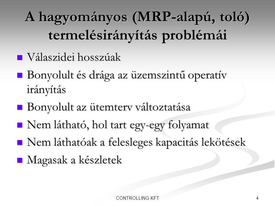 4CONTROLLING KFT A hagyományos (MRP-alapú, toló) termelésirányítás problémái  Válaszidei hosszúak  Bonyolult és drága az üzemszintű operatív irányít