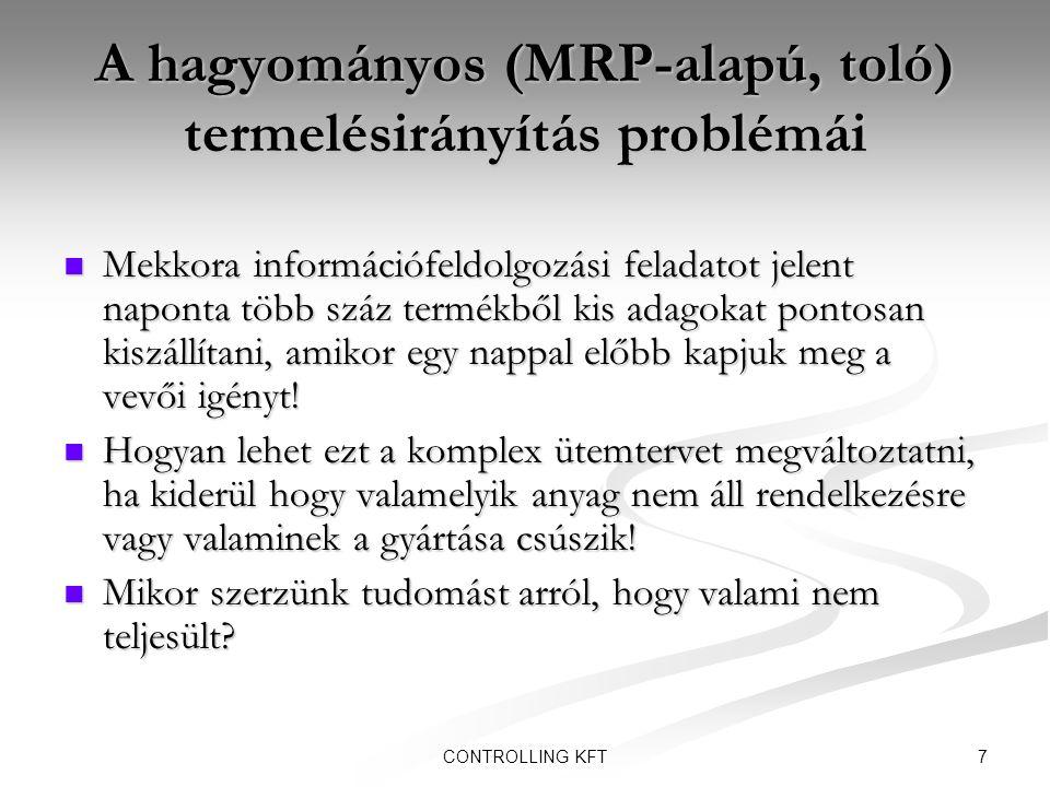 7CONTROLLING KFT A hagyományos (MRP-alapú, toló) termelésirányítás problémái  Mekkora információfeldolgozási feladatot jelent naponta több száz termé
