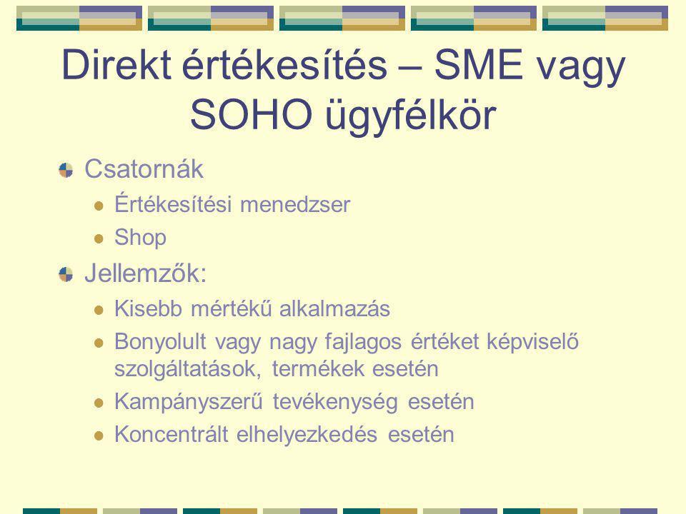 Direkt értékesítés – SME vagy SOHO ügyfélkör Csatornák  Értékesítési menedzser  Shop Jellemzők:  Kisebb mértékű alkalmazás  Bonyolult vagy nagy fajlagos értéket képviselő szolgáltatások, termékek esetén  Kampányszerű tevékenység esetén  Koncentrált elhelyezkedés esetén