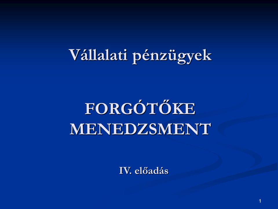 1Vállalati pénzügyek IV. Vállalati pénzügyek FORGÓTŐKE MENEDZSMENT IV. előadás