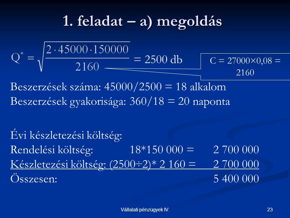 23Vállalati pénzügyek IV. 1. feladat – a) megoldás Beszerzések száma: 45000/2500 = 18 alkalom Beszerzések gyakorisága: 360/18 = 20 naponta Évi készlet