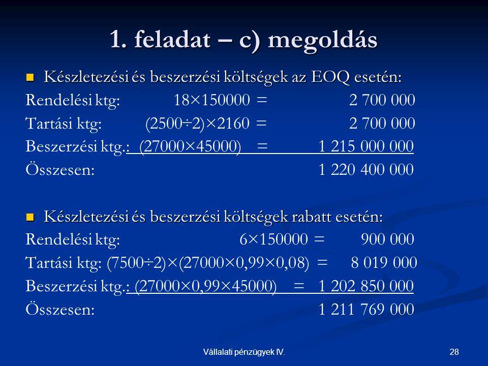 28Vállalati pénzügyek IV.  Készletezési és beszerzési költségek az EOQ esetén: Rendelési ktg: 18×150000 = 2 700 000 Tartási ktg: (2500÷2)×2160 = 2 70