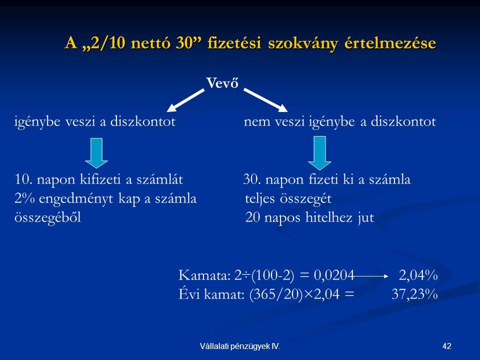 """42Vállalati pénzügyek IV. A """"2/10 nettó 30"""" fizetési szokvány értelmezése A """"2/10 nettó 30"""" fizetési szokvány értelmezése Vevő igénybe veszi a diszkon"""
