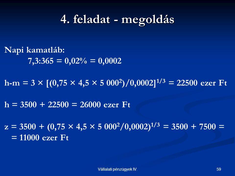 59Vállalati pénzügyek IV. Napi kamatláb: 7,3:365 = 0,02% = 0,0002 h-m = 3 × [(0,75 × 4,5 × 5 000 2 )/0,0002] 1/3 = 22500 ezer Ft h = 3500 + 22500 = 26