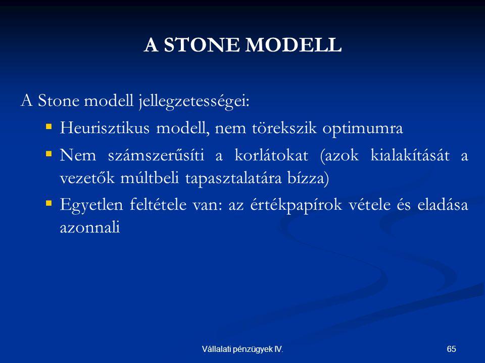 65Vállalati pénzügyek IV. A STONE MODELL A Stone modell jellegzetességei:  Heurisztikus modell, nem törekszik optimumra  Nem számszerűsíti a korláto