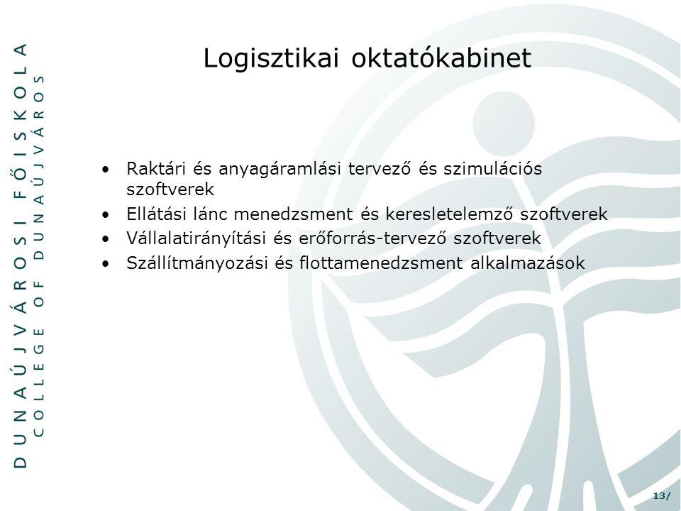 13/ Logisztikai oktatókabinet •Raktári és anyagáramlási tervező és szimulációs szoftverek •Ellátási lánc menedzsment és keresletelemző szoftverek •Vál
