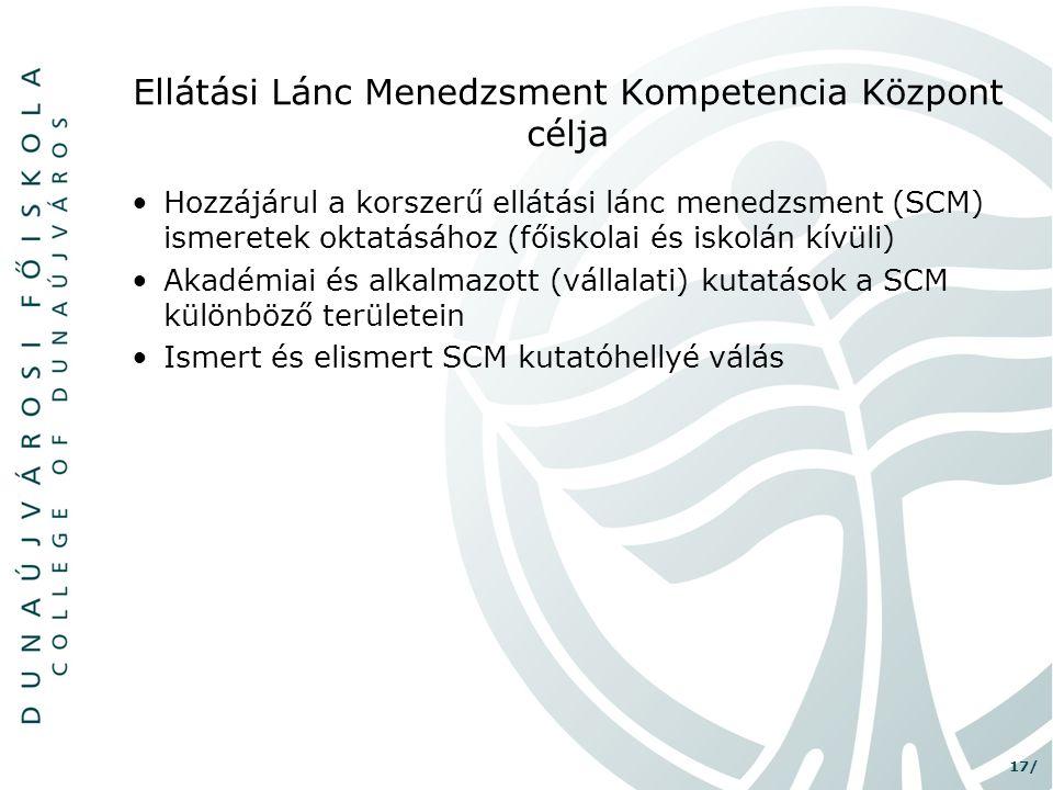 17/ Ellátási Lánc Menedzsment Kompetencia Központ célja •Hozzájárul a korszerű ellátási lánc menedzsment (SCM) ismeretek oktatásához (főiskolai és isk