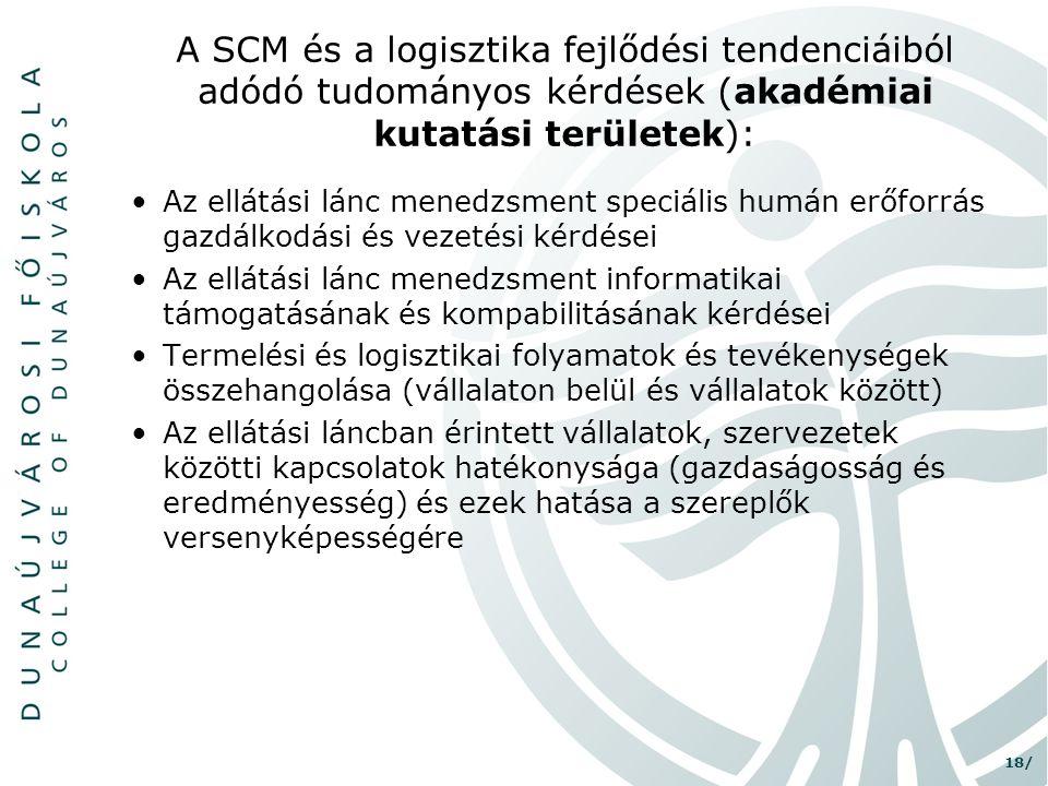 18/ A SCM és a logisztika fejlődési tendenciáiból adódó tudományos kérdések (akadémiai kutatási területek): •Az ellátási lánc menedzsment speciális hu
