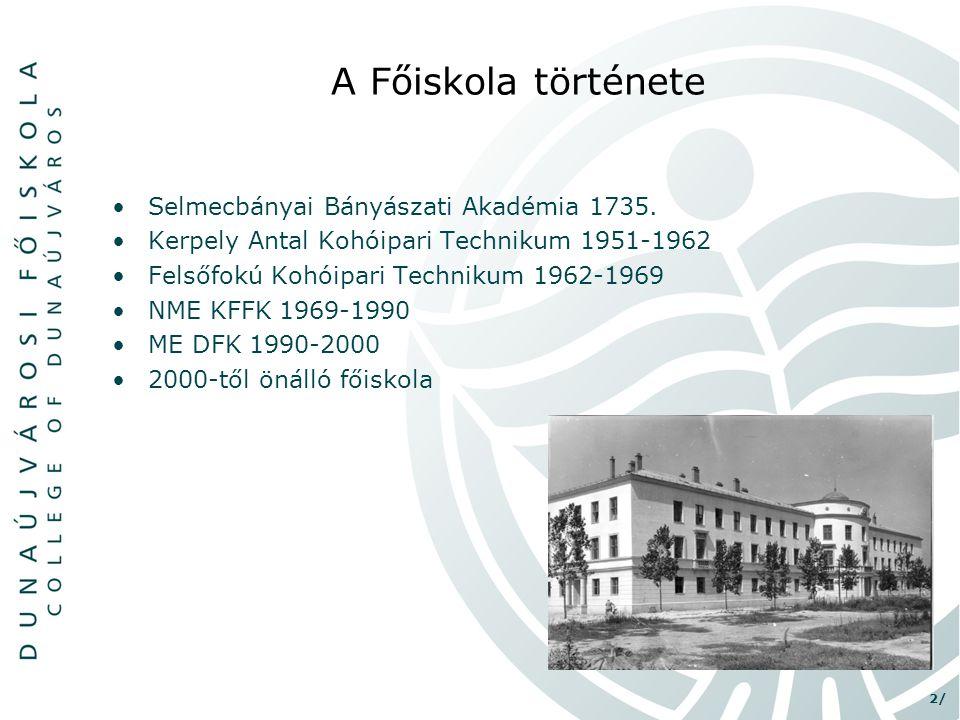 2/ •Selmecbányai Bányászati Akadémia 1735. •Kerpely Antal Kohóipari Technikum 1951-1962 •Felsőfokú Kohóipari Technikum 1962-1969 •NME KFFK 1969-1990 •
