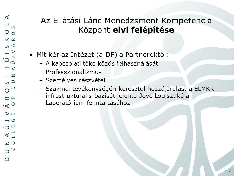 24/ Az Ellátási Lánc Menedzsment Kompetencia Központ elvi felépítése •Mit kér az Intézet (a DF) a Partnerektől: –A kapcsolati tőke közös felhasználásá