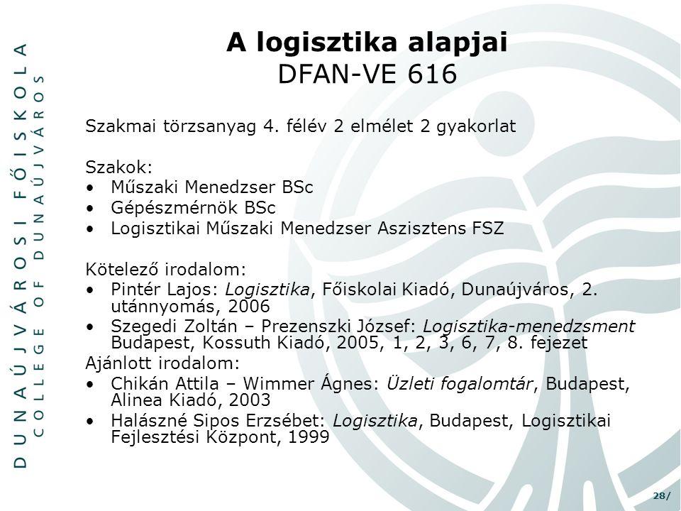 28/ A logisztika alapjai DFAN-VE 616 Szakmai törzsanyag 4. félév 2 elmélet 2 gyakorlat Szakok: •Műszaki Menedzser BSc •Gépészmérnök BSc •Logisztikai M