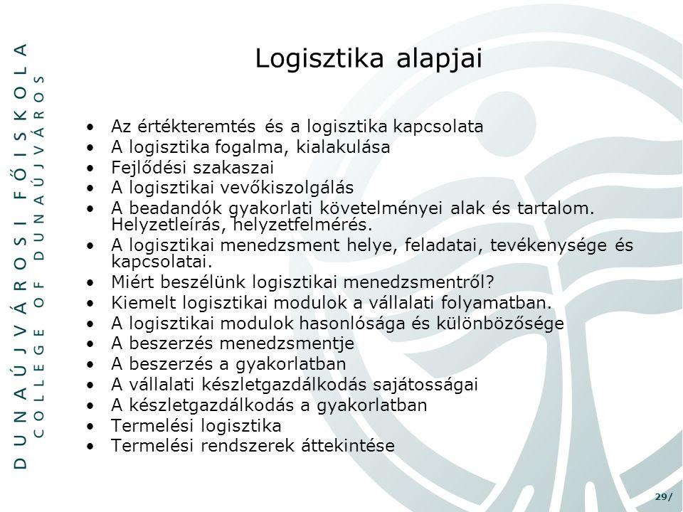 29/ Logisztika alapjai •Az értékteremtés és a logisztika kapcsolata •A logisztika fogalma, kialakulása •Fejlődési szakaszai •A logisztikai vevőkiszolg