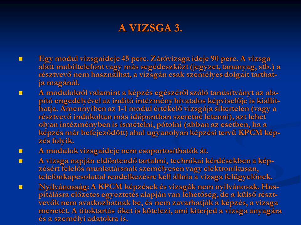 A VIZSGA 3.  Egy modul vizsgaideje 45 perc. Záróvizsga ideje 90 perc. A vizsga alatt mobiltelefont vagy más segédeszközt (jegyzet, tananyag, stb.) a