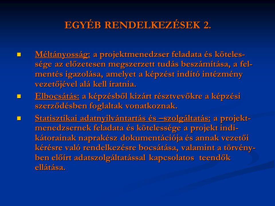 EGYÉB RENDELKEZÉSEK 2.