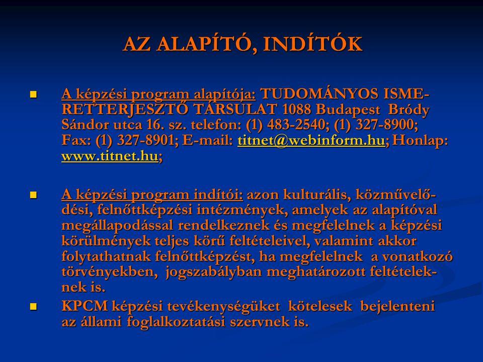AZ ALAPÍTÓ, INDÍTÓK  A képzési program alapítója: TUDOMÁNYOS ISME- RETTERJESZTŐ TÁRSULAT 1088 Budapest Bródy Sándor utca 16. sz. telefon: (1) 483-254
