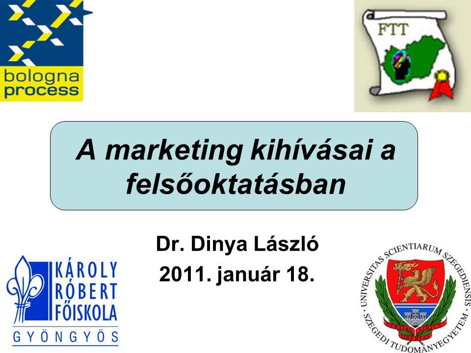 A marketing kihívásai a felsőoktatásban Dr. Dinya László 2011. január 18.