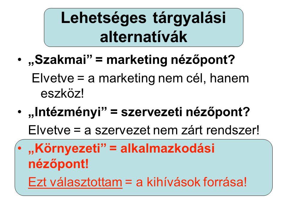 """Lehetséges tárgyalási alternatívák •""""Szakmai = marketing nézőpont."""