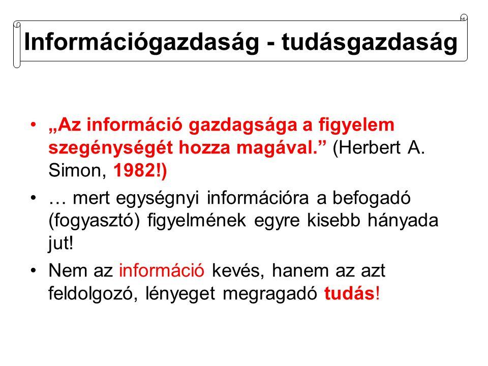 """Információgazdaság - tudásgazdaság •""""Az információ gazdagsága a figyelem szegénységét hozza magával. (Herbert A."""