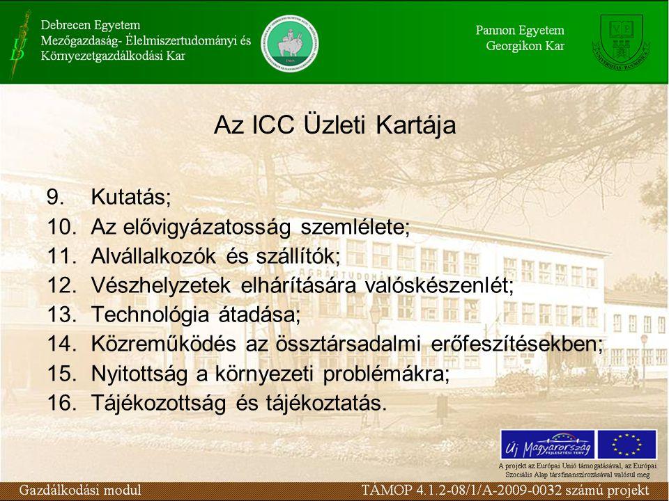 Az ICC Üzleti Kartája 9.Kutatás; 10.Az elővigyázatosság szemlélete; 11.Alvállalkozók és szállítók; 12.Vészhelyzetek elhárítására valóskészenlét; 13.Technológia átadása; 14.Közreműködés az össztársadalmi erőfeszítésekben; 15.Nyitottság a környezeti problémákra; 16.Tájékozottság és tájékoztatás.