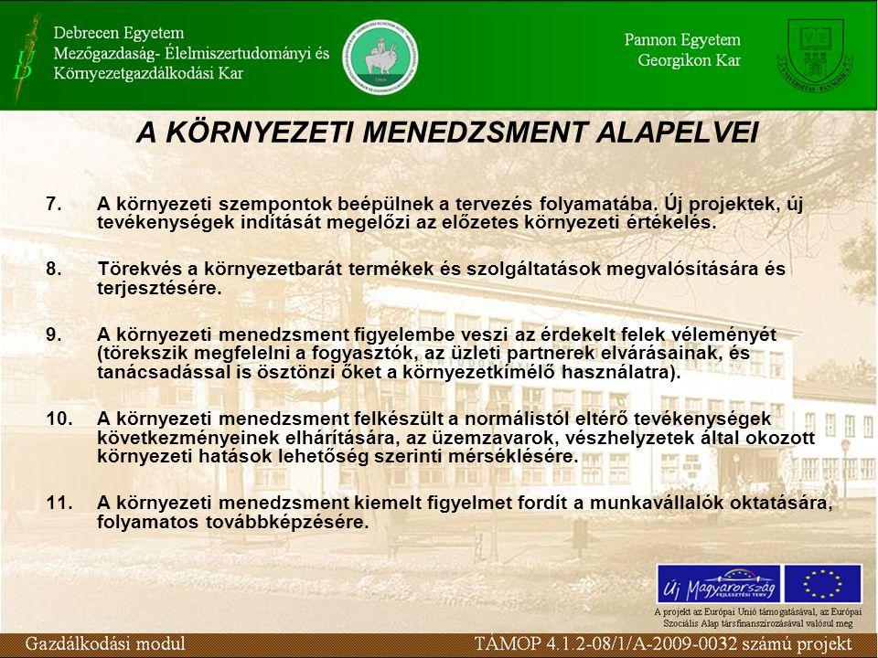 A KÖRNYEZETI MENEDZSMENT ALAPELVEI 7.A környezeti szempontok beépülnek a tervezés folyamatába.