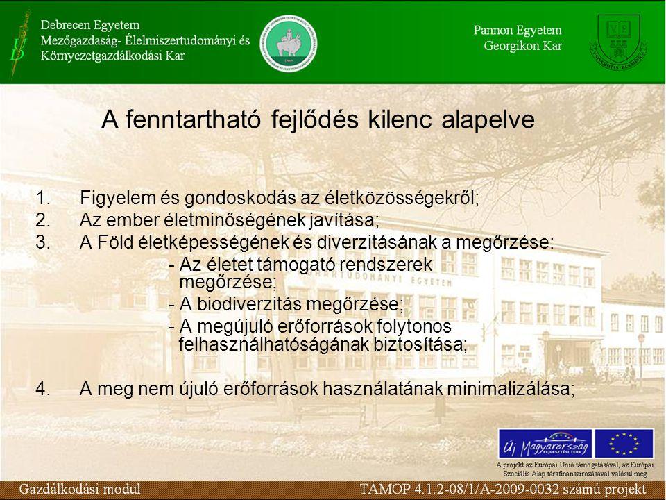 A fenntartható fejlődés kilenc alapelve 1.Figyelem és gondoskodás az életközösségekről; 2.Az ember életminőségének javítása; 3.A Föld életképességének és diverzitásának a megőrzése: - Az életet támogató rendszerek megőrzése; - A biodiverzitás megőrzése; - A megújuló erőforrások folytonos felhasználhatóságának biztosítása; 4.A meg nem újuló erőforrások használatának minimalizálása;
