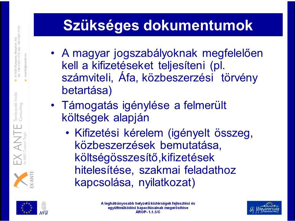 Szükséges dokumentumok •A magyar jogszabályoknak megfelelően kell a kifizetéseket teljesíteni (pl. számviteli, Áfa, közbeszerzési törvény betartása) •