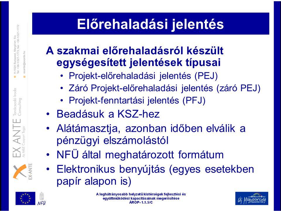 Előrehaladási jelentés A szakmai előrehaladásról készült egységesített jelentések típusai •Projekt-előrehaladási jelentés (PEJ) •Záró Projekt-előrehal
