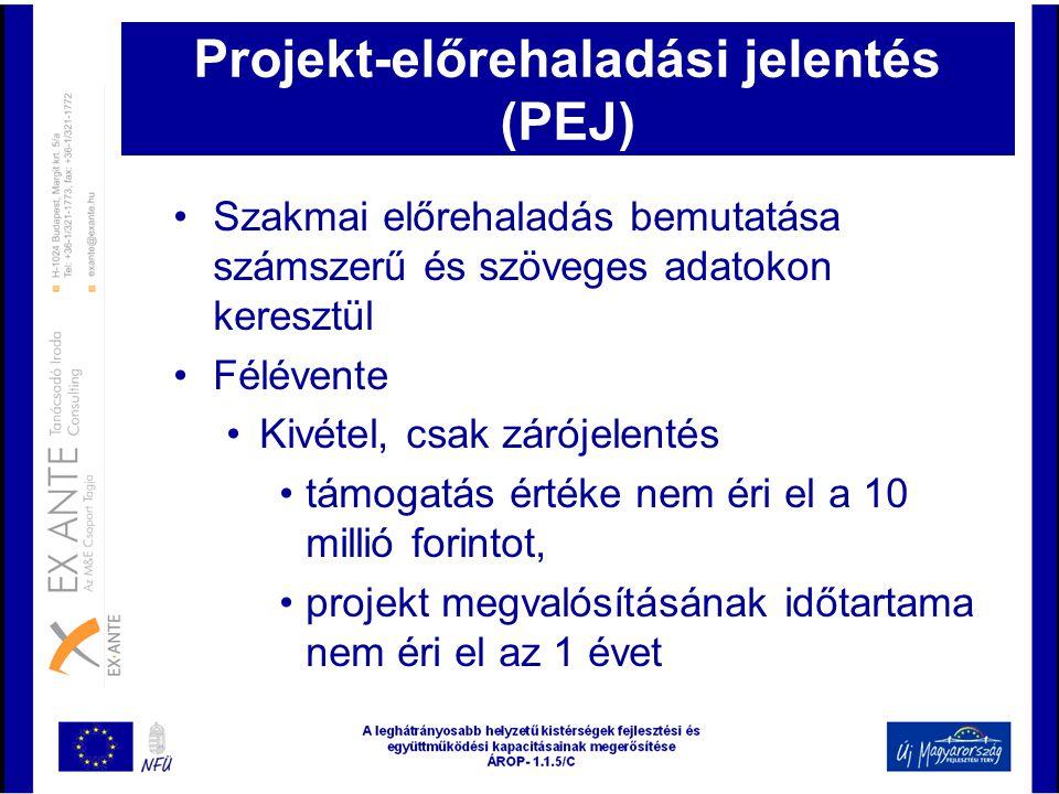 Projekt-előrehaladási jelentés (PEJ) •Szakmai előrehaladás bemutatása számszerű és szöveges adatokon keresztül •Félévente •Kivétel, csak zárójelentés