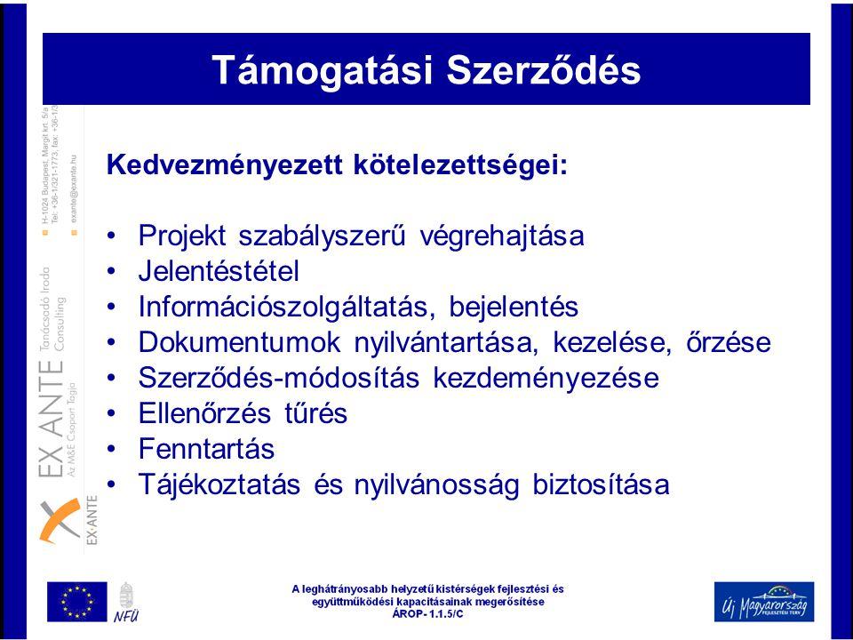 Kedvezményezett kötelezettségei: •Projekt szabályszerű végrehajtása •Jelentéstétel •Információszolgáltatás, bejelentés •Dokumentumok nyilvántartása, k