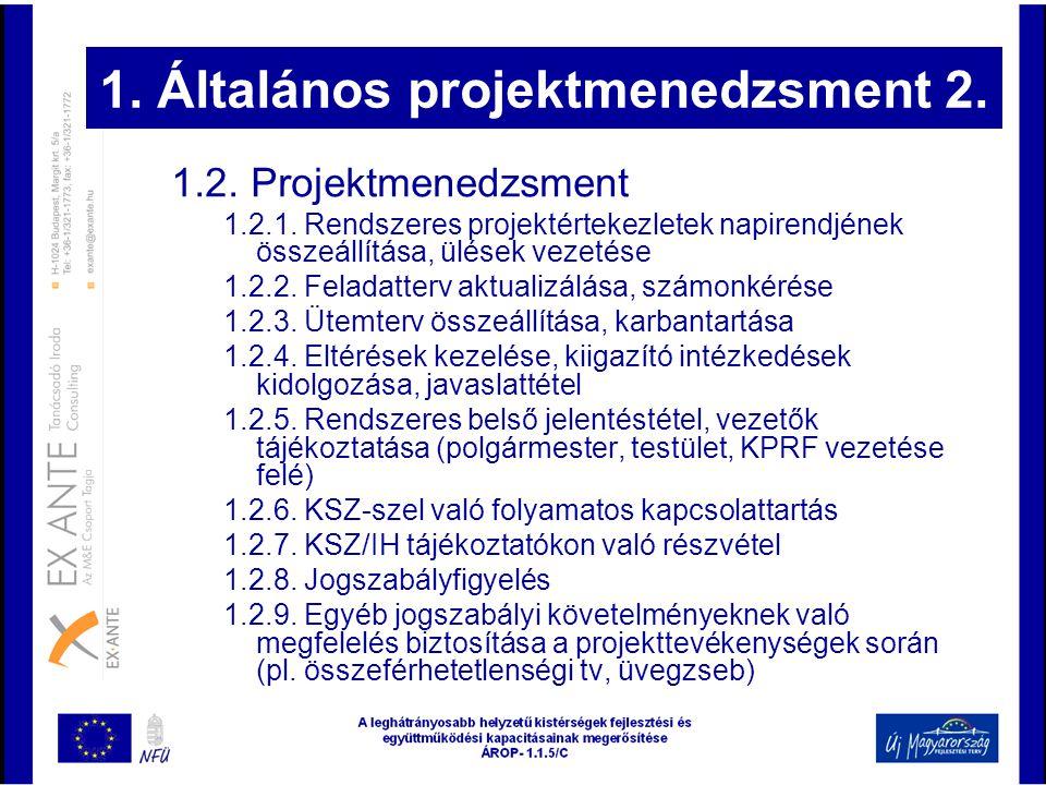 1. Általános projektmenedzsment 2. 1.2. Projektmenedzsment 1.2.1. Rendszeres projektértekezletek napirendjének összeállítása, ülések vezetése 1.2.2. F