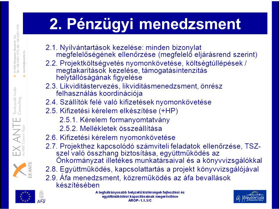 2. Pénzügyi menedzsment 2.1. Nyilvántartások kezelése: minden bizonylat megfelelőségének ellenőrzése (megfelelő eljárásrend szerint) 2.2. Projektkölts