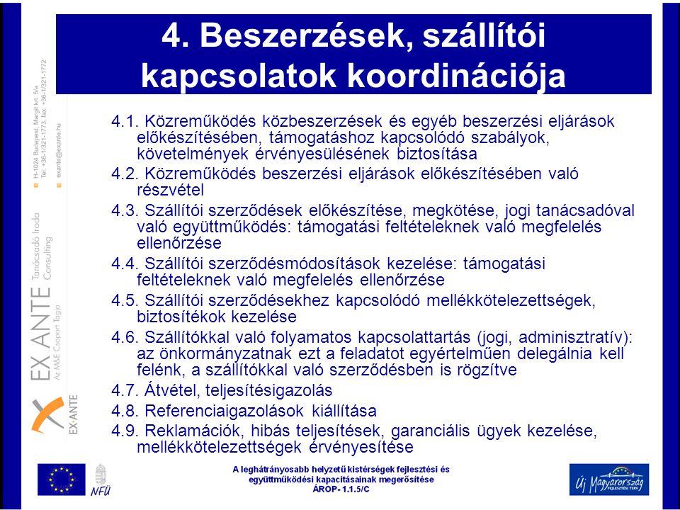 4. Beszerzések, szállítói kapcsolatok koordinációja 4.1. Közreműködés közbeszerzések és egyéb beszerzési eljárások előkészítésében, támogatáshoz kapcs