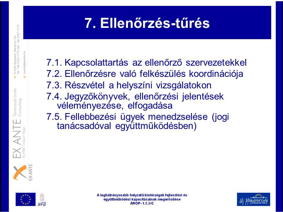7. Ellenőrzés-tűrés 7.1. Kapcsolattartás az ellenőrző szervezetekkel 7.2. Ellenőrzésre való felkészülés koordinációja 7.3. Részvétel a helyszíni vizsg