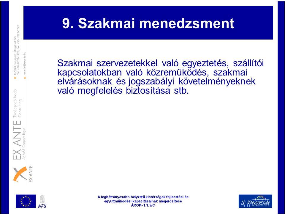 9. Szakmai menedzsment Szakmai szervezetekkel való egyeztetés, szállítói kapcsolatokban való közreműködés, szakmai elvárásoknak és jogszabályi követel